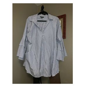 For Cynthia blue & white striped blouse in size 2X